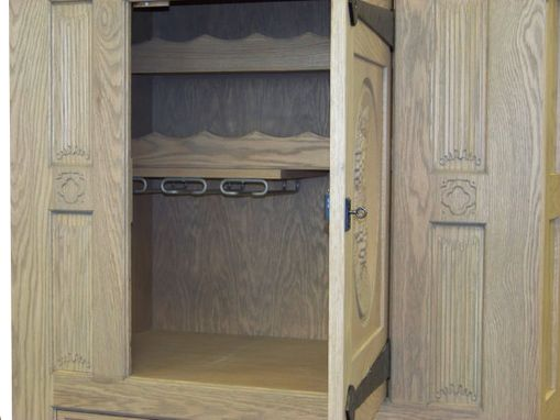 Custom Made French Gothic Oak Wine Cabinet Antique Look