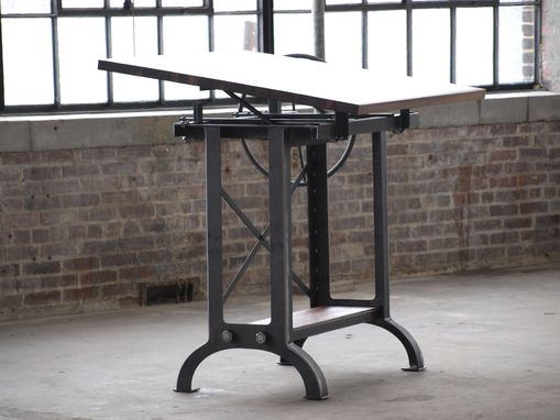 Custom Made Large Walnut Industrial Drafting Table Desk