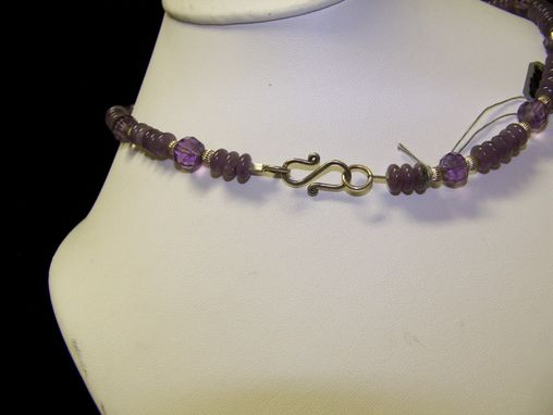 Custom Made Stunning Necklace Of Lavender Chrysophrase Set In Sterling Silver Pendant With Purple Jade Beads