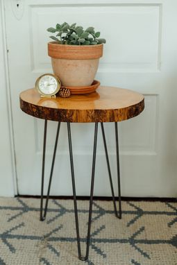 Custom Made Hairpin Leg End Table - Ash Wood