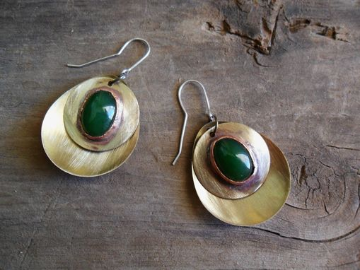 Custom Made Oval Brass Earrings With Jade Stones