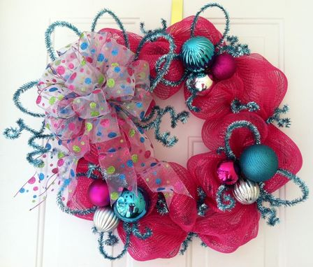 Custom Made Mothers Day, Spring, Summer, Hot Pink, Turquoise, Whimsical, Deco Mesh Wreath