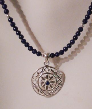 Custom Made Lapis Lazuli And Sterling Silver Pendant On Lapis Lazuli Tiny Beaded Necklace