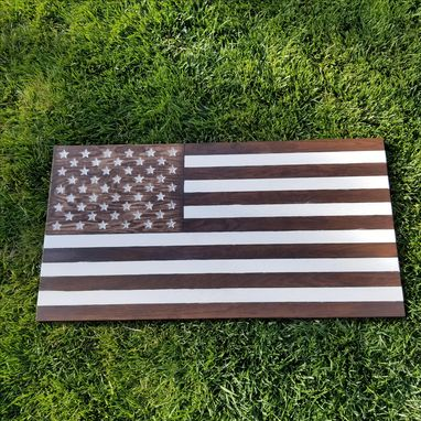Custom Made Wood Carved American Flag Sign