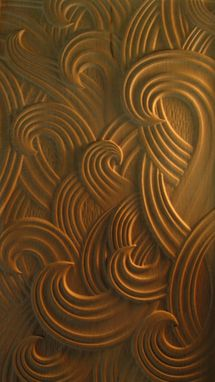 Custom Made 'Ben Wave'  Carved Walnut Panel For Custom Furniture Cabinet