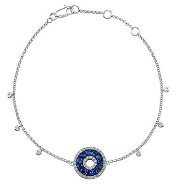 Custom Made 14k White Gold Diamond Sapphire Evil Eye Bracelet