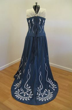 denim and lace wedding dress handmade denim and lace corset wedding dress by hourglass 3477