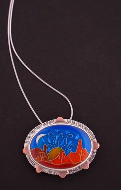 Custom Made Sonoran Dessert Sunset- Pin And Pendant