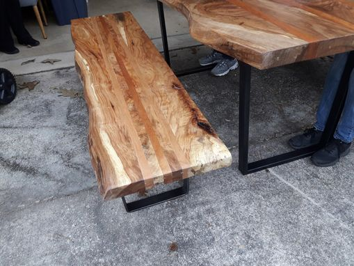 Custom Made Live Edge Solid Spalted Pecan And Cherry Dining Table And Benches With Industrial Metal Legs