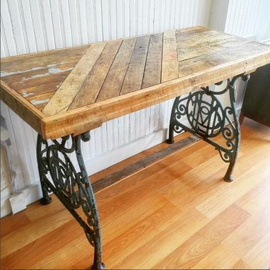 Custom Made Reclaimed Flooring Console Table W/ Antique Cast Iron Legs