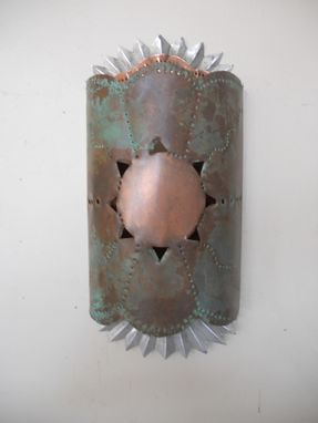 Custom Made Punched Tin And Copper Sconce With Patina