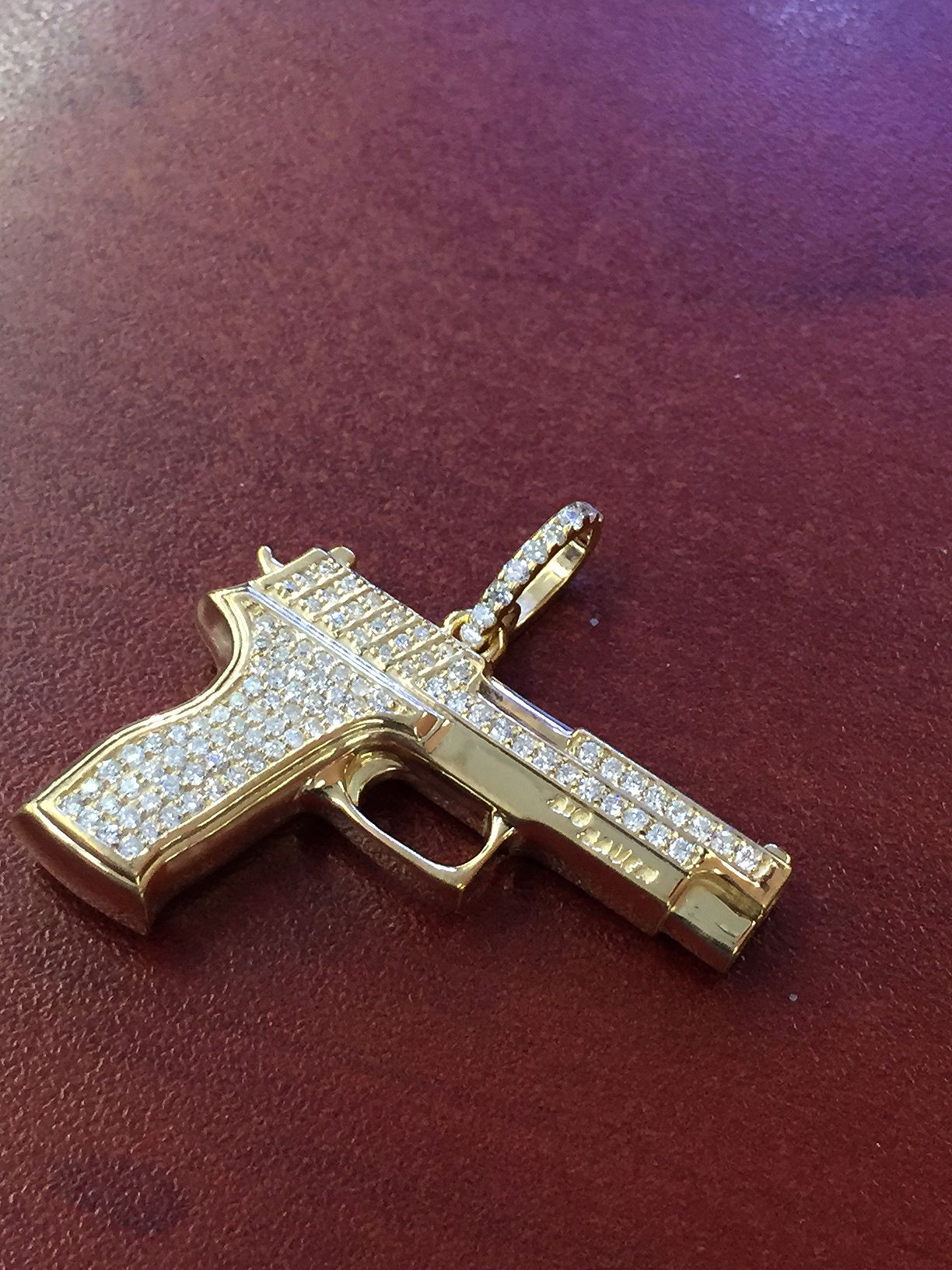 Buy a hand crafted 14k yellow gold diamond gun pendant charm 061 custom made 14k yellow gold diamond gun pendant charm 061cts round brilliant cut sig sauer aloadofball Image collections