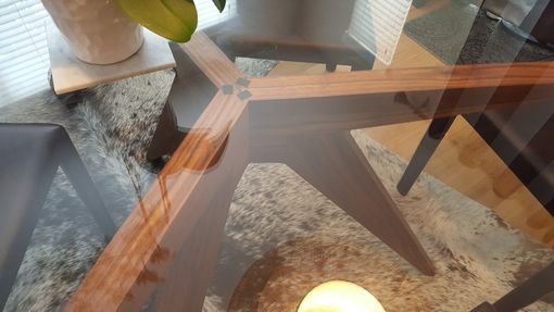 Custom Made Robin'S  Extended Tricky Tripod Table Base For A 54 Inch Diameter Glass Top