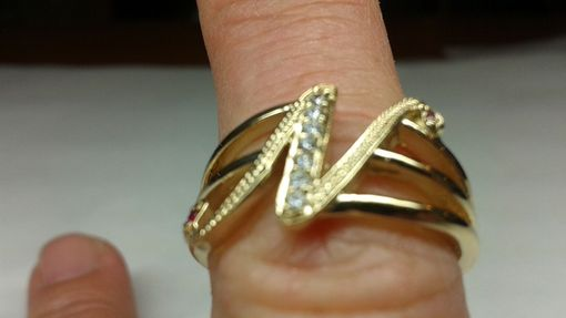 Custom Made 14kt Diamond Initial Ring With Diamonds And Rubies