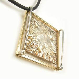 Custom Made Reticulated Silver And 24k Gold Kumbo Pendant / Broach