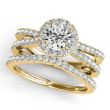 Custom Made 1.50ct Diamond Frame Split Shank Ring & Band Bridal Set 14k Gold