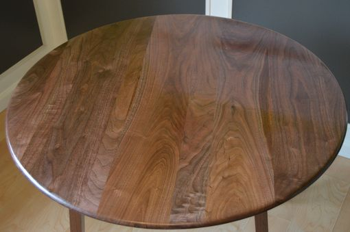 Custom Made Solid Figured Walnut And Purple Heart Modern Round Dining Table