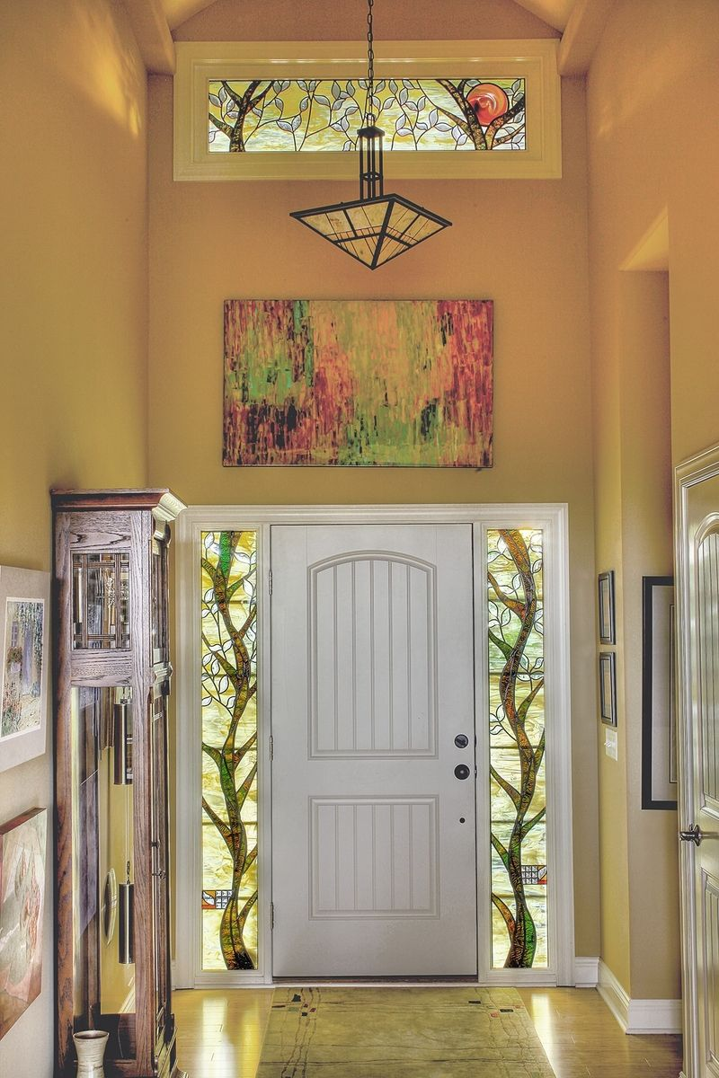 Handmade Stained Glass Sidelights And Transom By Painted