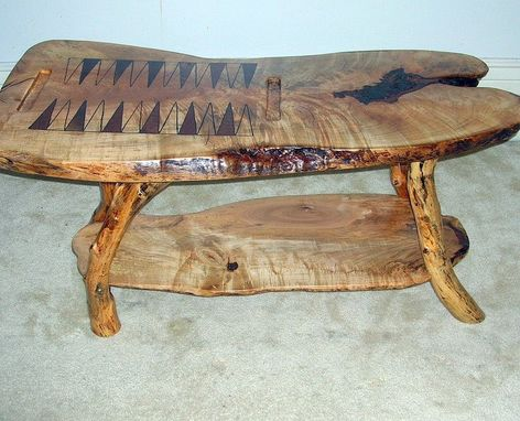"Custom Made ""Chances"" Tiger Maple Backgammon Table"