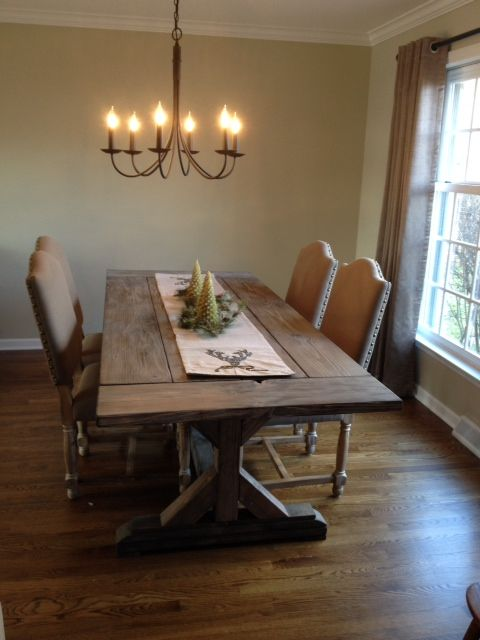 Buy a hand crafted fancy x farmhouse table with extensions for Dining room farm table