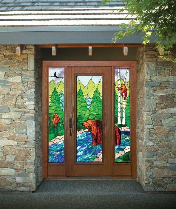 двери металлические для улицы с витражом