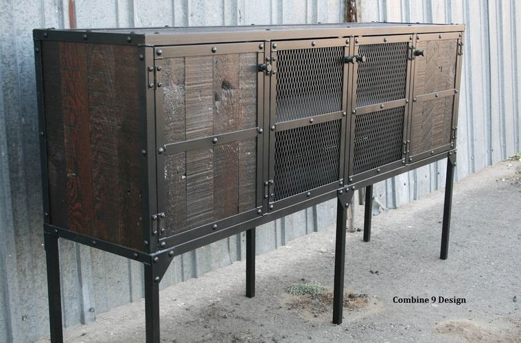 Buy A Custom Made Buffet Hutch Vintage Industrial Modern Distressed Reclaimed Wood Rustic Media Console Tv Stand To Order From Combine 9