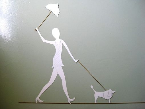 Custom Made Handmade Upcycled Metal Lady Walking Dog Wall Art Sculpture