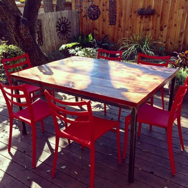 Custom Made Simple Rustic Steel & Reclaimed Wood Table