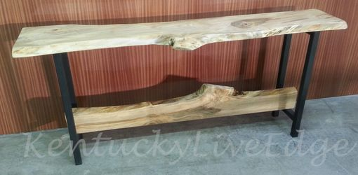 Custom Made Live Edge Console Red Maple On Steel Bases With Decorative Stretcher
