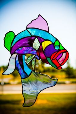 Custom Made Multi-Colored Largemouth Bass Stained Glass Art