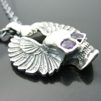 Custom Made Sterling Silver Amethyst Skull Pendant