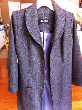 Custom Made Herringbone Wool Blend Long Dress Coat