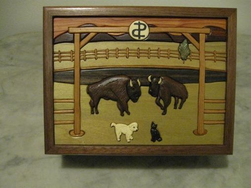 Custom Made Custom Intarsia Buffalo Keepsake Box
