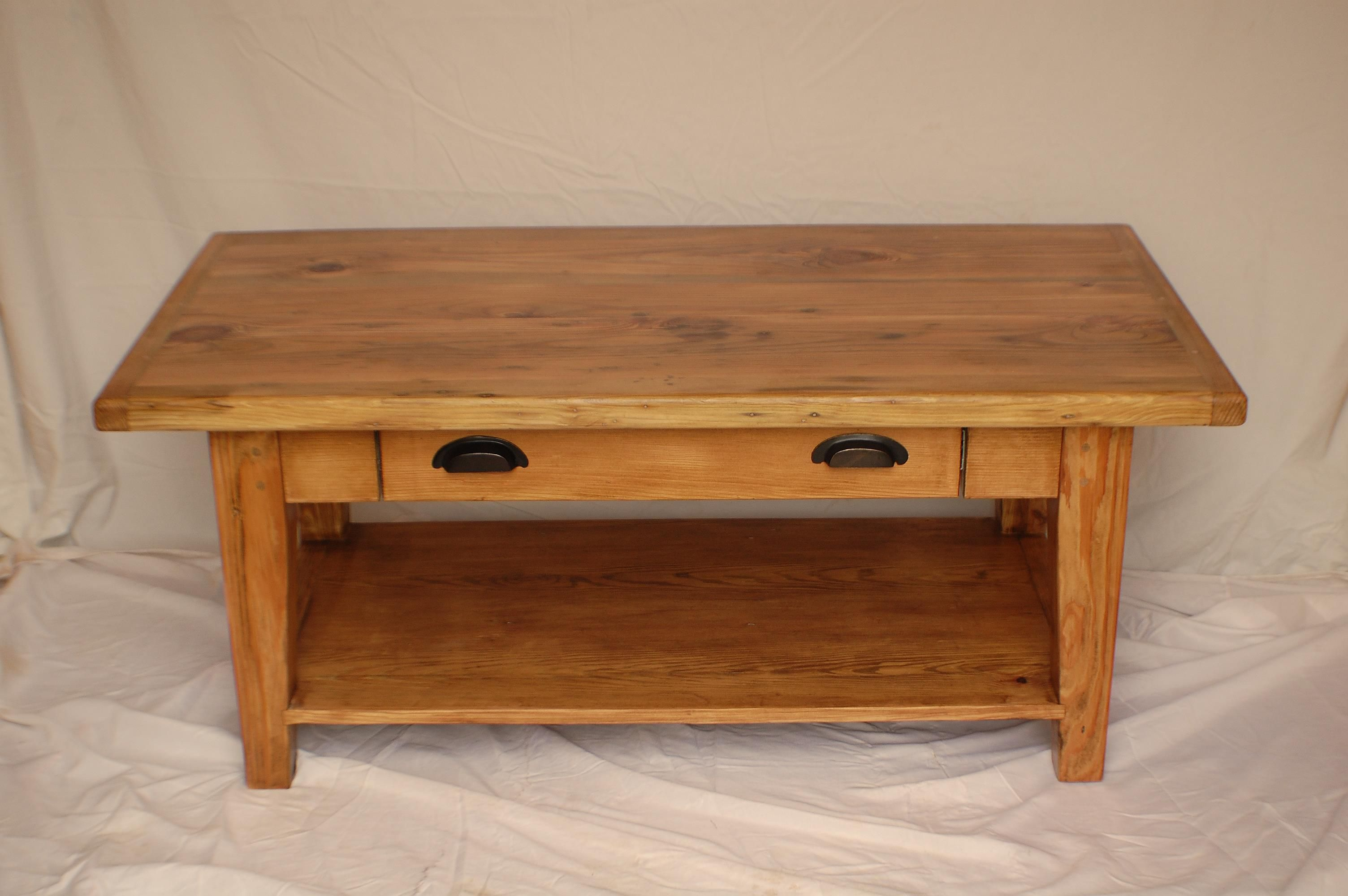 Buy a custom reclaimed heart pine coffee table with drawer and shelf made to order from Pine coffee table with drawers