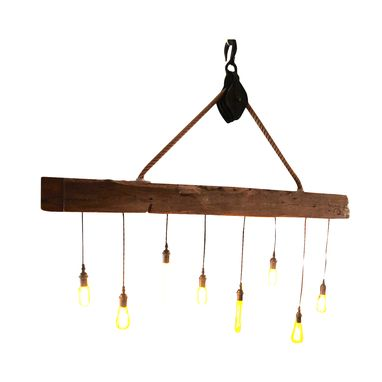 Custom Made Reclaimed Barn Wood - Beam Chandelier With 8 Edison Bulbs