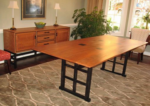 Custom Made Curly Cherry Dining Table And Sideboard