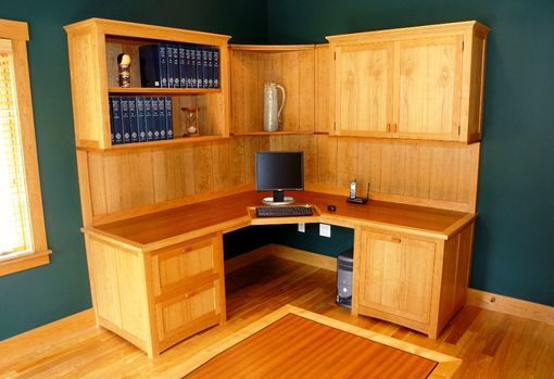 Custom Made Asian-Influenced, Arts & Crafts Office Cabinetry