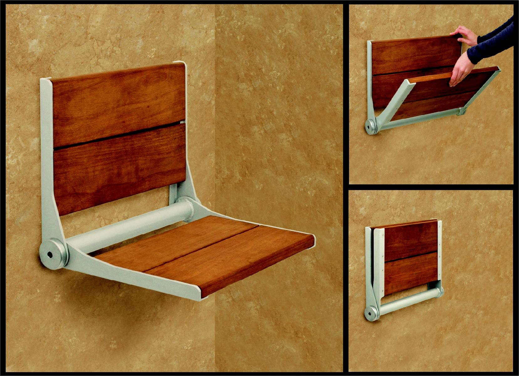 Custom Brazilian Walnut Shower Seat By Columbus Glass