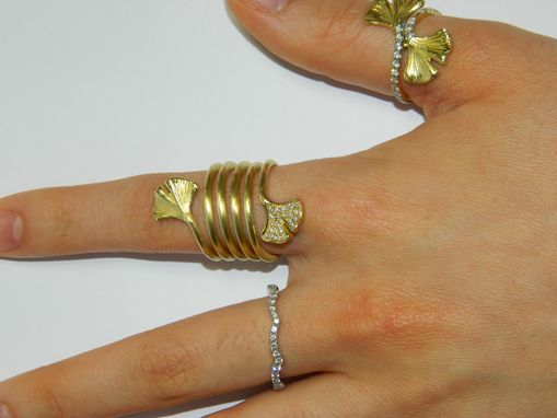 Custom Made 18k Green Gold And Diamond Gingko Spiral Ring