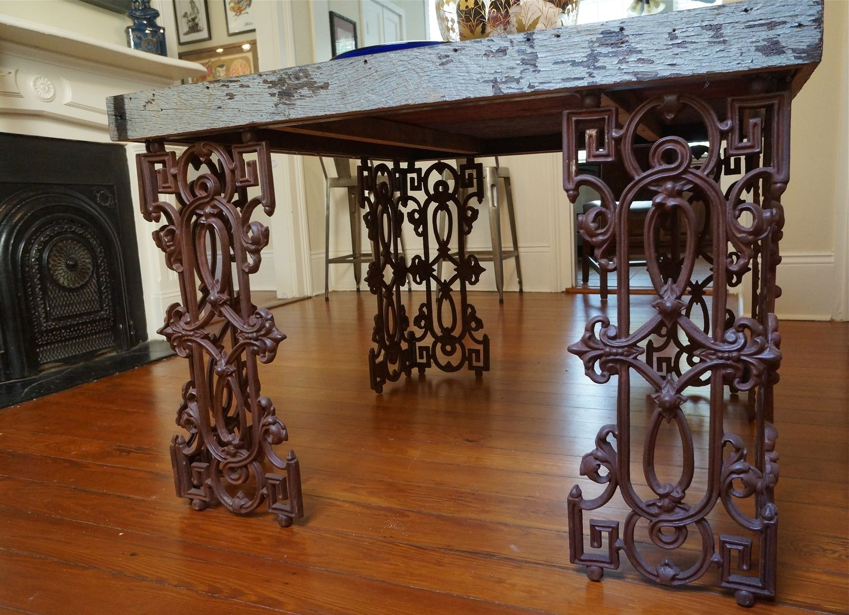 Hand Made New Orleans Dining Room Table From Distressed Wood And Wrought Iron By Doorman Designs Custommade