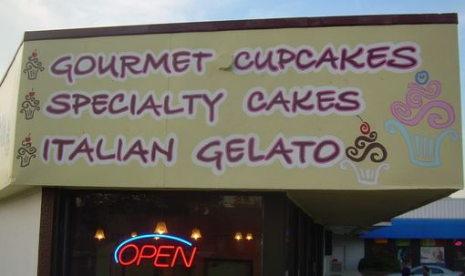 Custom Made Kupcake Factory Painted Sign And Pattern