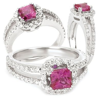 Custom Made 18k Created 5mm Princess Cut Pink Sapphire Engagement Ring With Natural Diamond Halo