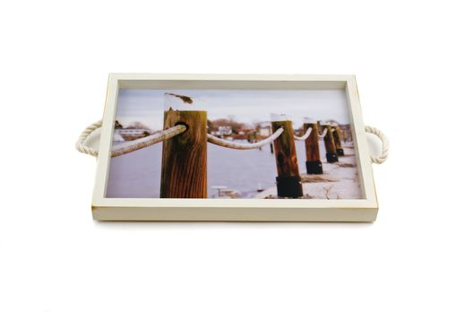 Custom Made Wickford Pilings Tray + Wall Art With Rope Handles