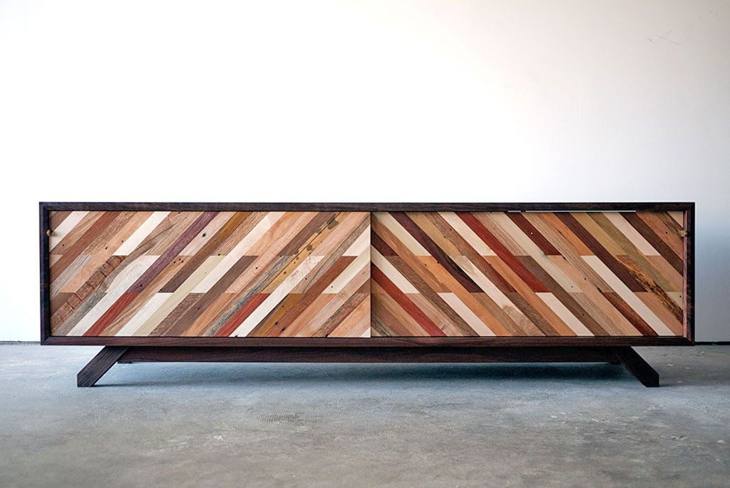 Hand Made Patterned Low Media Console By Bolster Furniture Design Custommade Com