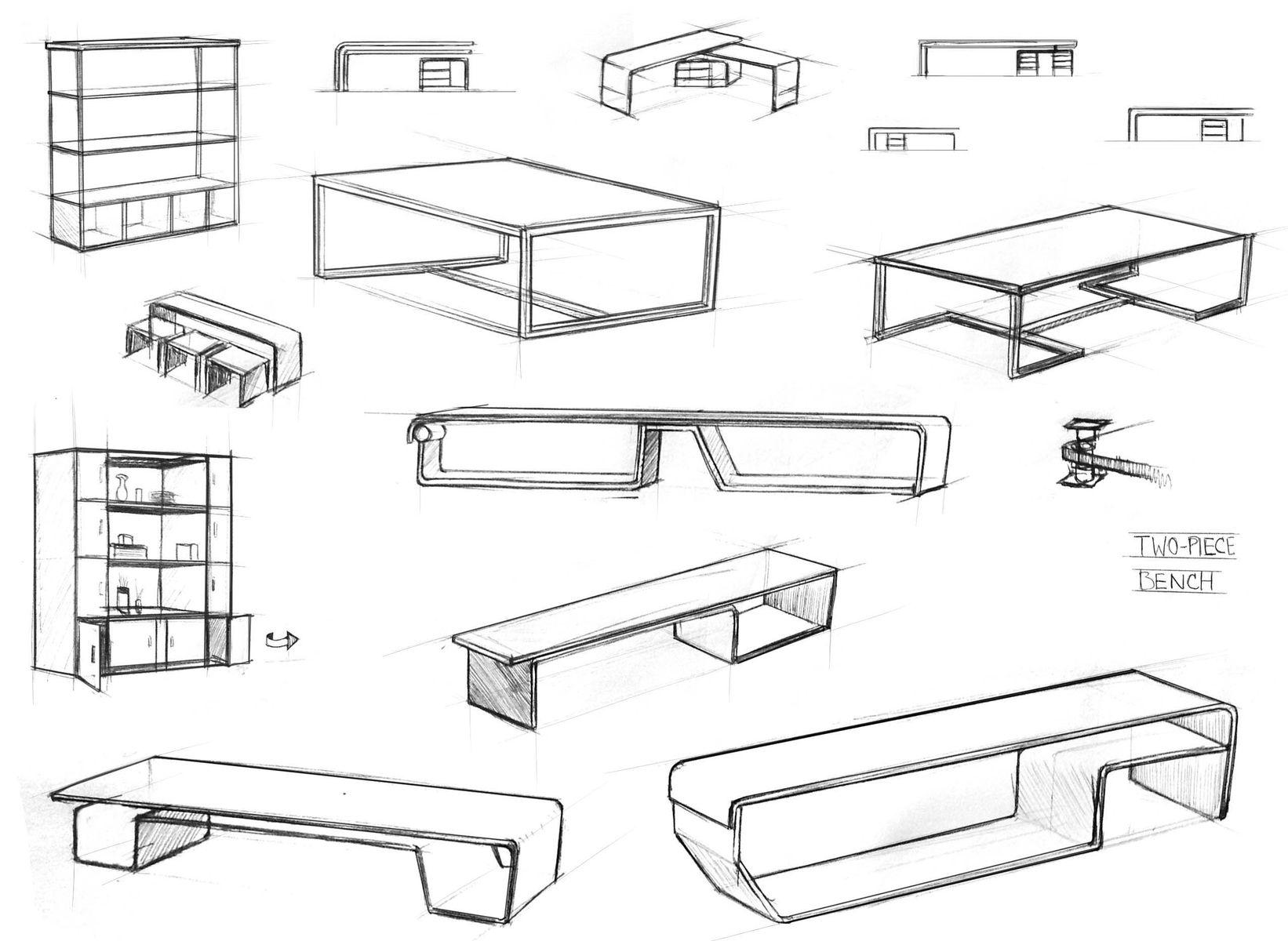 Industrial design sketches furniture - Custom Made Design Sketches