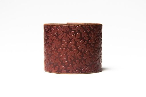 Custom Made Chestnut Brown Leather Cuff - Embossed With Thorns