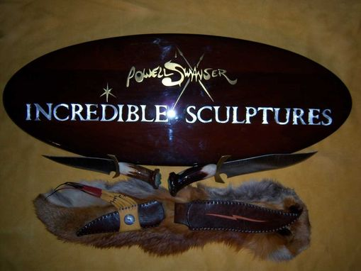 Custom Made Incredible Sculpture Sign And John Colter Knives