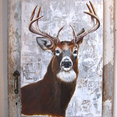 Custom Made Stag Painting On Re-Purposed Wood Panels