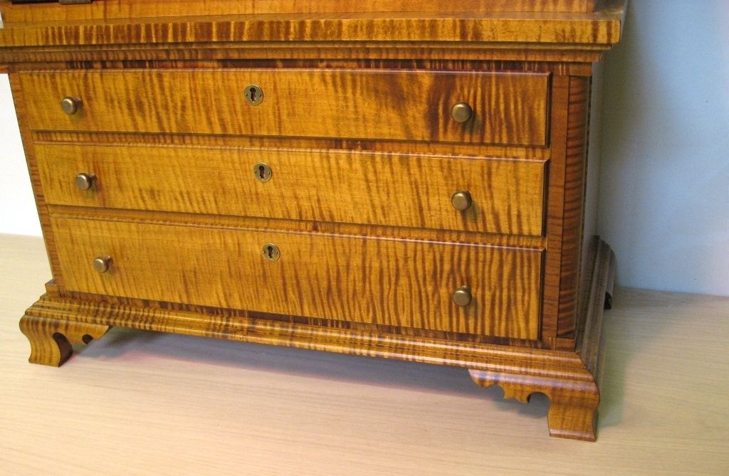 Hand Made Childs Tiger Maple Secretary Desk By Dellabrook Woodworking Restoration Custommade