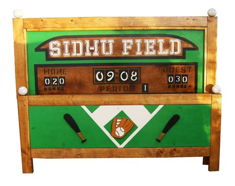Custom Made Queen Bed Frame - Sports Theme Baseball Football Basketball - Design Your Own Bed
